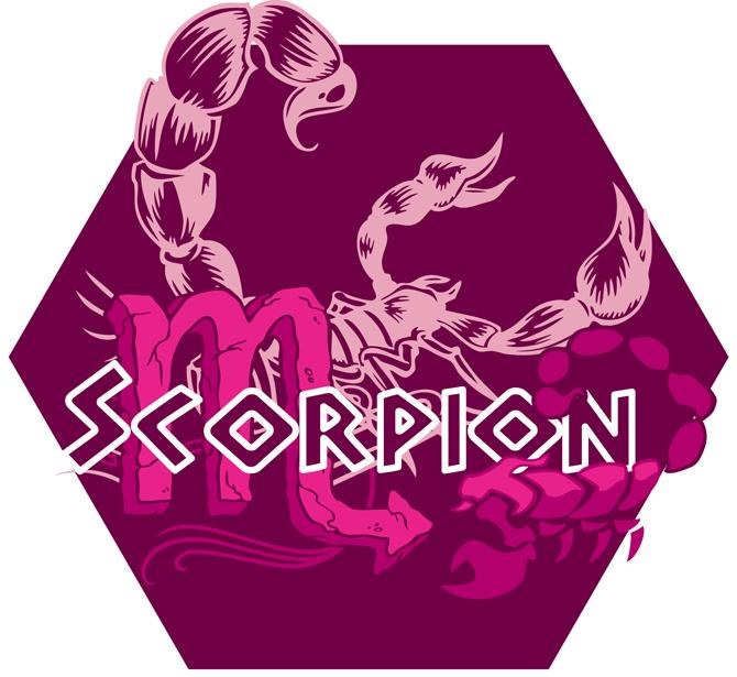 T-shirts Femmes Zodiaque Scorpion ( signe astrologique ) Artwork du signe du Scorpion (Version Rose)