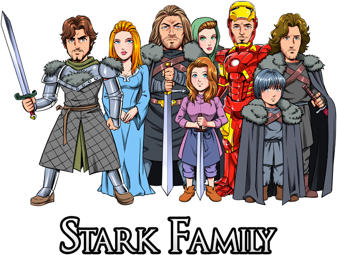 The Stark Family (With Robert Downey Jr Caricature)