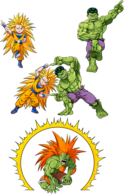 Son Goku; Hulk and Blanka