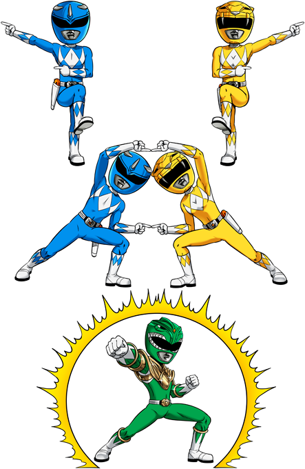Blue Power Ranger, Yellow Power Ranger and... Green Power Ranger