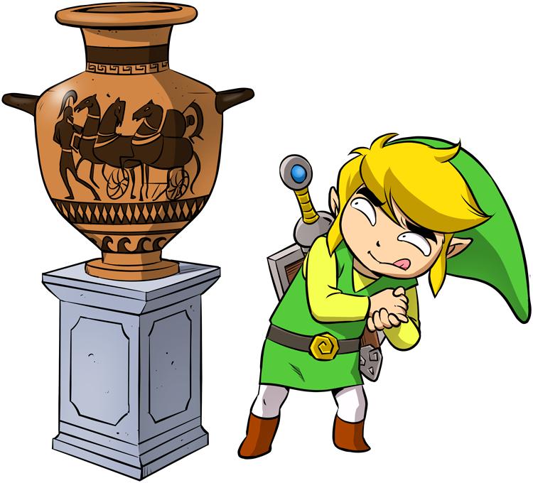 T-shirts Hommes Jeux Vidéo - Parodie de Link de la Légende de Zelda Petite visite au musée...