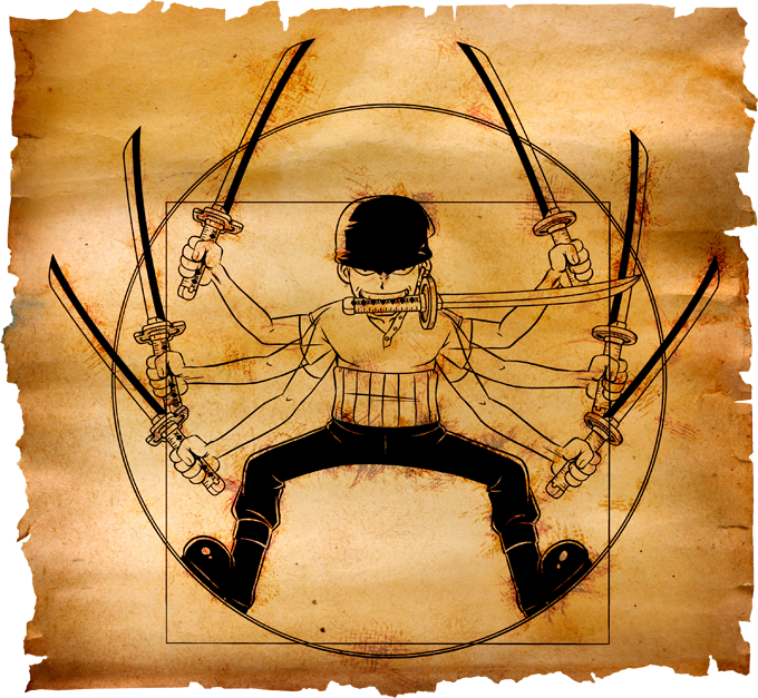 T-shirts One Piece parodique Zoro Roronoa : Da Vinci Samurai ! (Parodie One Piece)