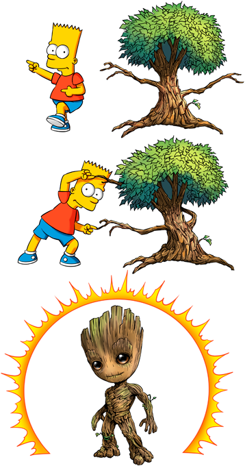 Groot and Bart Simpson