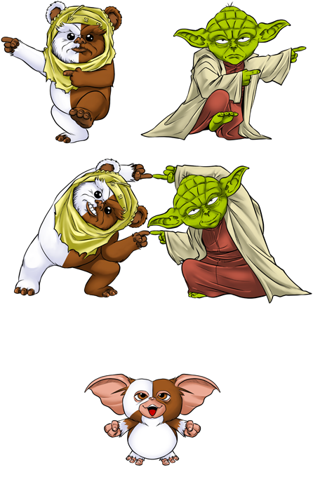 Yoda, an Ewok and Gizmo