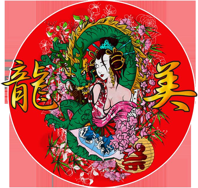 T-shirts Japon Culture parodique Japon : La Geisha et le Dragon (Ryumi) ! (Parodie Japon Culture)
