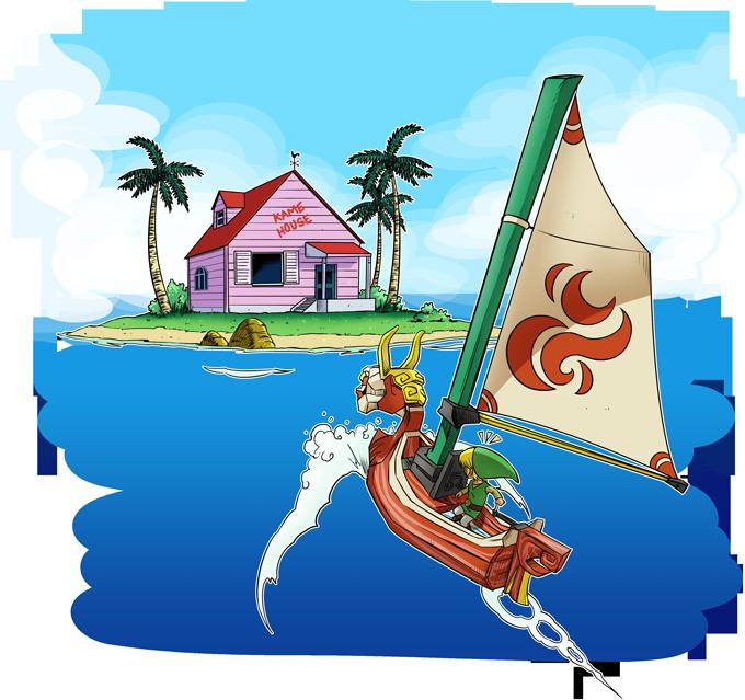 T-shirts Hommes Manga - Parodie de la KAme House de Dragon Ball et Link de Zelda Une île perdue...
