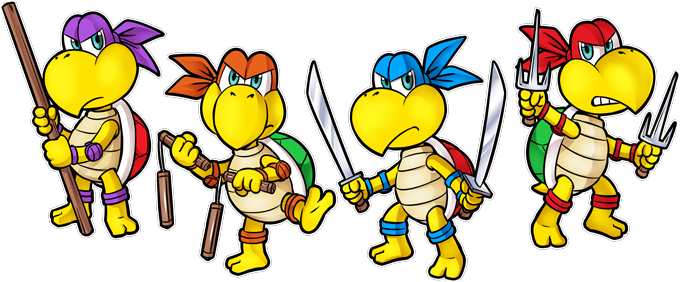 Mario Vs Donatello,Raphael, Leonardo and Michelangelo