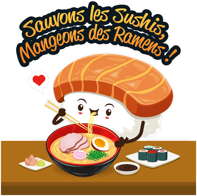 T-shirts Femmes Humoristique - Collection Humour et Japan par okiWoki Sauvons les Sushis !!