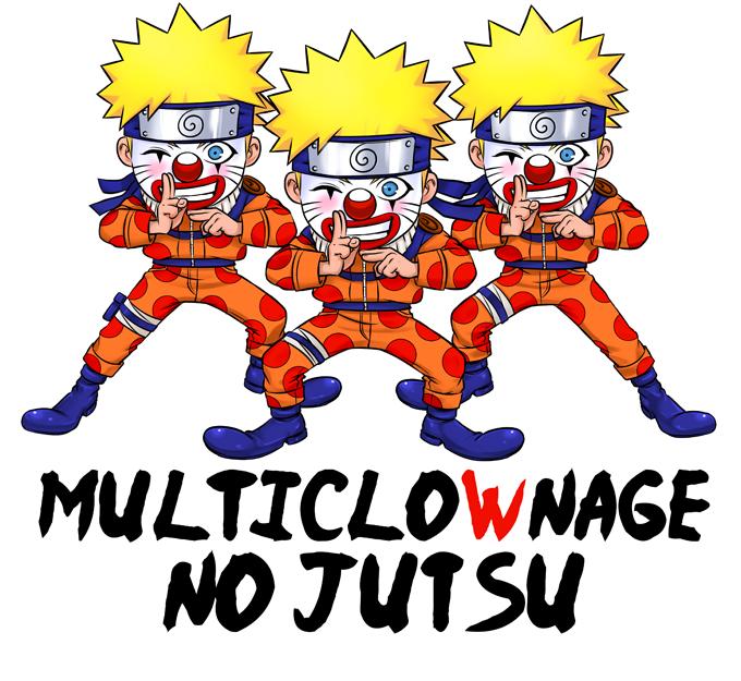 T-shirts Naruto parodique Naruto Multiclonage : Multiclownage No Jutsu !! (Parodie Naruto)