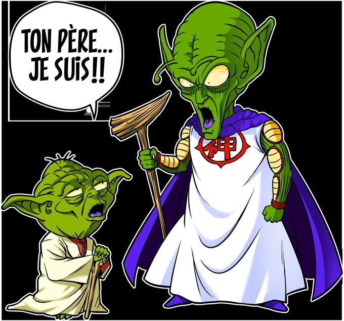 T-shirts Enfants Garçons Manga - Parodie Yoda de Star Wars et le Tout Puissant de Dragon Ball Z Ton père, je suis... !!