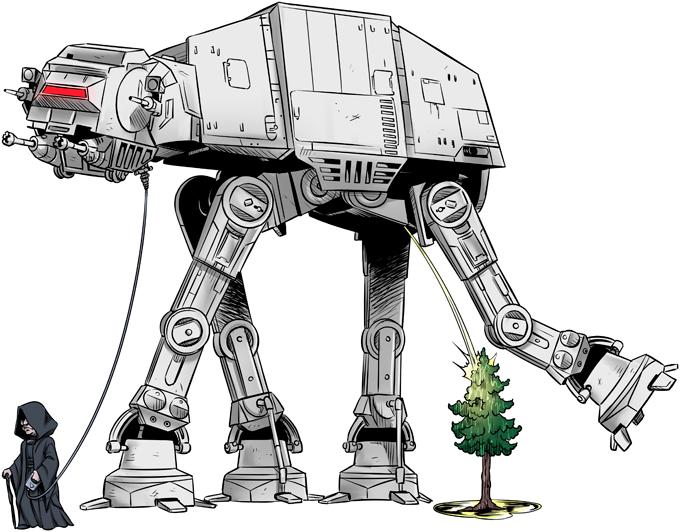 T-shirts Star Wars parodique Empereur Palpatine aka Dark Sidious et son robot chien AT-AT : Promenade impériale... (Parodie Star Wars)