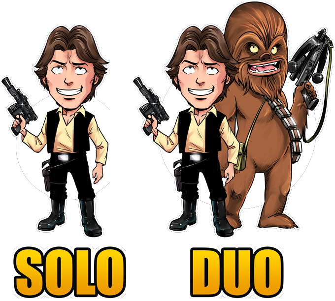 T-shirts Star Wars parodique Le Duo Han Solo et Chewbacca : Solo Duo :) (Parodie Star Wars)