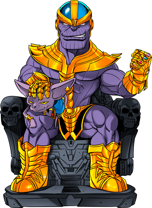 Thanos from Avengers and Beerus from Dragon Ball Super