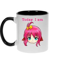 Mug  parodique Manga Style : Today I am DE BONNE HUMEUR !! (Parodie )