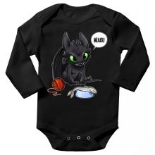 Body bébé manches longues  parodique Krokmou : Après le poisson chat... Le Dragon Chat :) (Parodie )