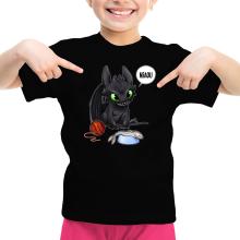 T-shirt Enfant Fille  parodique Krokmou : Après le poisson chat... Le Dragon Chat :) (Parodie )
