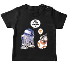T-shirt bébé  parodique BB-8 et R2-D2 : BB, je suis ton père (Super Deformed Edition) (Parodie )