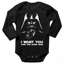 Body bébé manches longues  parodique Dark Vador se la joue Oncle Sam : I want You !! (Parodie )