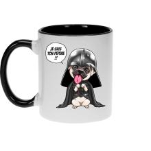 Mugs  parodique Dark Vadog, le Carlin se prenant pour Dark Vador : Je suis ton pépère... !! (Parodie )