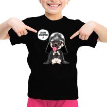 T-shirt Enfant Fille  parodique Dark Vadog, le Carlin se prenant pour Dark Vador : Je suis ton pépère... !! (Parodie )