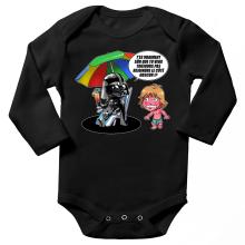 Body bébé manches longues  parodique Luke Skywalker, Dark Vador et le côté obscur : Le pouvoir du côté Obscur... (Parodie )