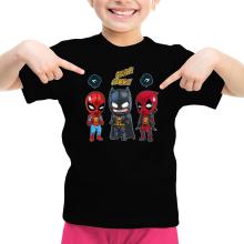 T-shirt Enfant Fille  parodique Batman, Deadpool et Spider-Man : Un léger problème de conception au niveau du masque... (Parodie )