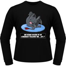 T-Shirts à manches longues  parodique Krokmou le Dragon : Une bonne hygiène de vie commence toujours par...soi ! (Parodie )