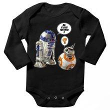 Body bébé manches longues  parodique BB-8 et R2-D2 : BB, je suis ton père !! (Parodie )