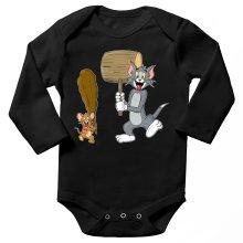 Body bébé manches longues  parodique Itchy et Scratchy Vs Tom et Jerry : Chat et Souris Show :) (Parodie )