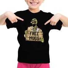 T-shirt Enfant Fille  parodique Walking Dead Zombie - Free Hugs : Free Hugs - Zombie (Parodie )