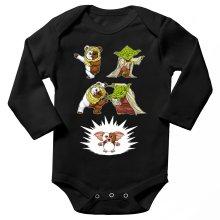 Body bébé manches longues  parodique Yoda, un Ewok et Gizmo : Fusion !! YAHA !! (Parodie )