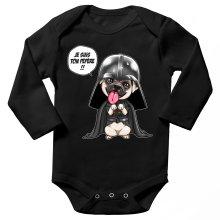 Body bébé manches longues  parodique Dark Vadog, le Carlin se prenant pour Dark Vador : Je suis ton pépère... !! (Parodie )