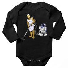 Body bébé manches longues  parodique R2-D2 et C-3PO : Le grand ménage de Printemps :) (Parodie )