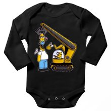 Funny  Long sleeve Baby Bodysuit - Kévin the Minion and Homer Simpson ( Parody) (Ref:611)