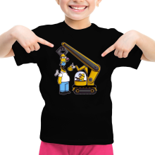 Funny  Girls Kids T-shirt - Kévin the Minion and Homer Simpson ( Parody) (Ref:611)