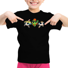 T-shirt Enfant Fille  parodique Bulle, Belle et Rebelle en mode Harley Quinn, Poison Ivy et Wonderwoman : Les Super Girls ! (Parodie )