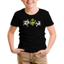 T-shirt Enfant  parodique Bulle, Belle et Rebelle en mode Harley Quinn, Poison Ivy et Wonderwoman : Les Super Girls ! (Parodie )