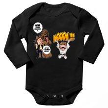 Body bébé manches longues  parodique Luke Skywalker, Chewbacca et Han Solo : Luke Life Episode III : Un beauf carrément beauf :) (Parodie )