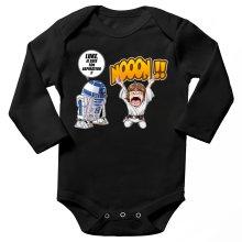 Body bébé manches longues  parodique Luke Skywalker et R2-D2 : Luke Life Episode V : un robot...ménager !! (Parodie )