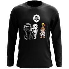 T-Shirt à manches longues  parodique Dark Vador, Luke et un Storm Trooper : Luke...Je suis ton père !! (Parodie )