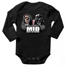 Body bébé manches longues  parodique Dark Vador et Dark Sidious se prenant pour des Men In Black : Men In Dark !! (Parodie )