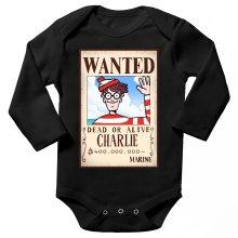 Body bébé manches longues  parodique Charlie à la sauce One Piece Wanted : Mystérieux Wanted (Parodie )