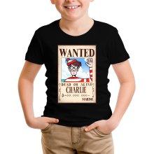 T-shirt Enfant  parodique Charlie à la sauce One Piece Wanted : Mystérieux Wanted (Parodie )