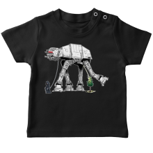 T-shirts  parodique Empereur Palpatine aka Dark Sidious et son robot chien AT-AT : Promenade impériale... (Parodie )