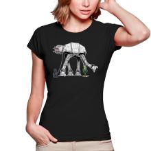 T-shirts Femmes  parodique Empereur Palpatine aka Dark Sidious et son robot chien AT-AT : Promenade impériale... (Parodie )