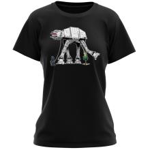 T-shirt Femme  parodique Empereur Palpatine aka Dark Sidious et son robot chien AT-AT : Promenade impériale... (Parodie )