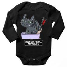 Body bébé manches longues  parodique Krokmou le Dragon : Quand faut y aller... Faut y aller !! (Parodie )
