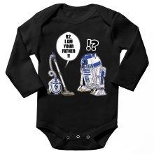 Body bébé manches longues  parodique R2-D2 : R2, je suis ton père ! (en VO remasterisée) (Parodie )