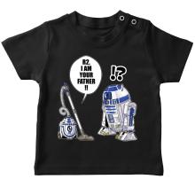 T-shirt bébé  parodique R2-D2 : R2, je suis ton père ! (en VO remasterisée) (Parodie )