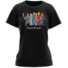Funny Women T-shirt - Eddard, Catelyn, Robb, Sansa, Arya, Brian, Rickon and Tony Stark ( Parody)
